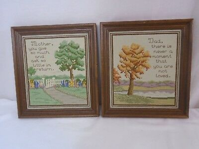 Vintage Framed Crewel Mom & Dad Art (2)