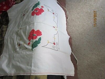 """Hand Embroidered 48x44"""" Linen TABLE CLOTH Heavy Material  Vintage Antique"""