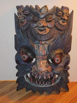 Lg Chinese Hand Carved, Hand Painted Highly Detailed Nuo Wooden Mask PanGu Diety