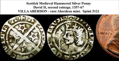 a6:  David II ABERDEEN Mint Medieval Scottish Hammered Silver Penny. (WSC-6460)