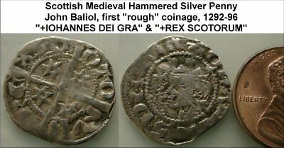 """a3: John Baliol """"rough"""" coinage Scottish Hammered Silver Penny.  (WSC-5369)"""