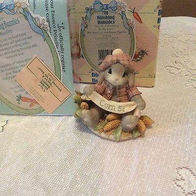 Nib Blushing Bunnies You're A Blessing To My Ears Boy With Corn Figurine 277843