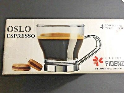 FIDENZA Oslo Espresso Coffee Cups Mugs Italian Tempered Glass Set Of 4 NEW