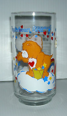 CARE BEARS Tenderheart tall drinking glass Bisounours bilingual