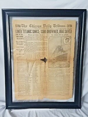 FRAMED Rare Titanic Newspaper April 1912 The Chicago Daily Front Page