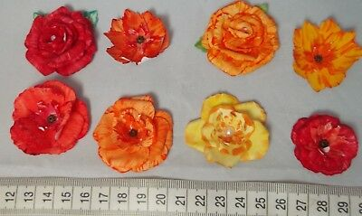 8 X Handmade Paper Flower Embellishments Crafts Card Making Toppers
