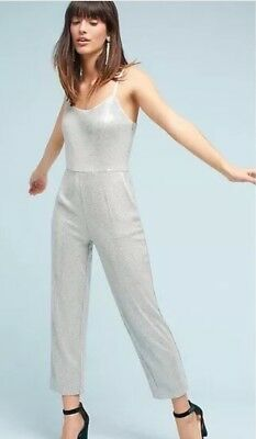 Anthropologie Sequenced Gray Jumpsuit Size 10 NWT