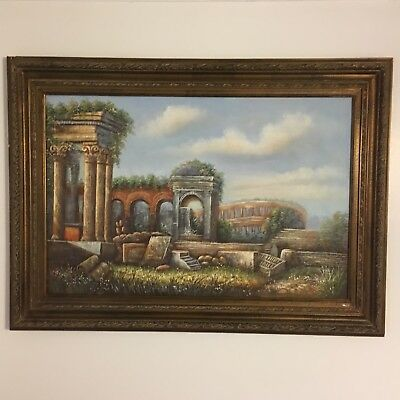 Vintage Rome Style Landscape Oil Painting Rare One Of A Kind Rare Fine Art