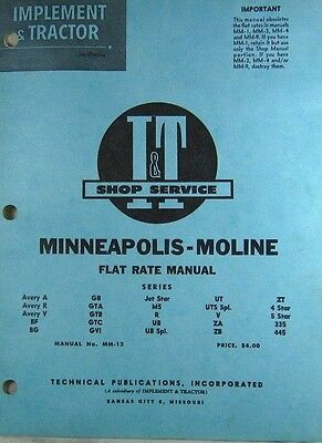 Minneapolis-Moline Flat Rate Manual Series Avery A to AT 445