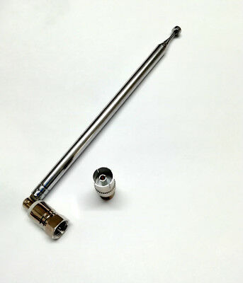 FM Antenna Telescopic Aerial 75 Ohm UNBAL F Connector DAB Radio TV with adapter