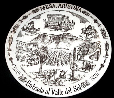Vernon Kilns Souvenir Collector State Plate: ARIZONA: MESA: Brown: EXC: NR