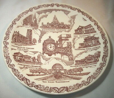 Vernon Kilns Souvenir Collector Plate: ILLINOIS: CHICAGO: Red: Marshall: EXC: NR