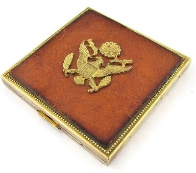 Compact Mirror US Army Sweetheart Leather Face Gold Tone Vtg 1950s Retro Gift