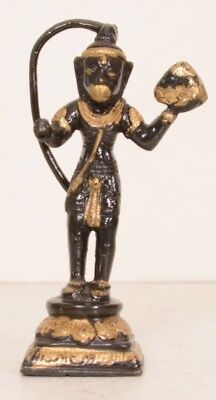 Bronze Monkey Hanuman Ramayana Hindu God Amulet Figurine Incense Burner VTG Gold