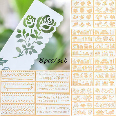 8x Flower Layering Stencils For Wall Painting Scrapbooking Paper Card Templates-