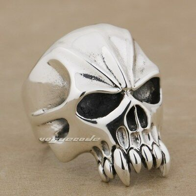925 Sterling Silver Skull Mens Biker Gothic Ring Punk Jewelry 9M004D US 7.5~14