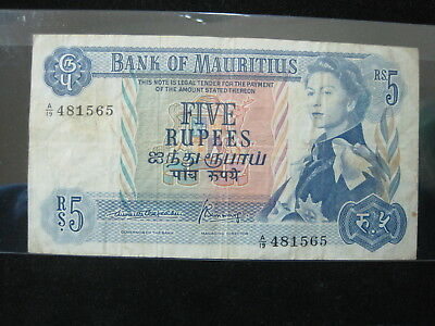 Mauritius 5 Rupees 1967 P30 British Queen 00# World Bank Banknote Paper Money