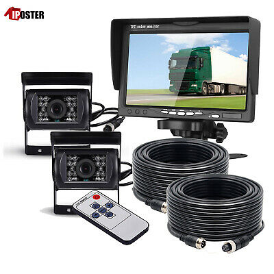 """For RV Truck Bus Van 2x Rear View Back up Camera Night Vision System+7"""" Monitor"""