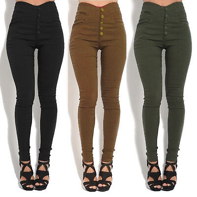 Womens Pencil Skinny Slim Fit Pants High Waist Stretch Casual Trousers Leggings
