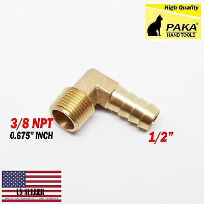 (1 Pieces) 1/2 HOSE BARB ELBOW X 3/8 MALE NPT Brass Pipe Fitting Gas Fuel Water
