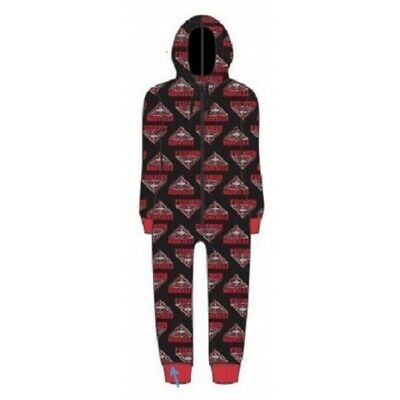 Essendon Bombers Childrens Microfleece Hooded Pyjama Jumpsuit AFL Official