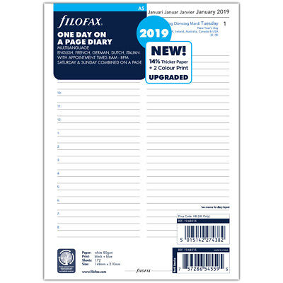 NEW Filofax A5 Day To A Page w/Appointments 2019 Diary Refill