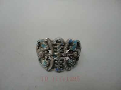 Collected China Old Handmade Pure Silver Ring Bake Cloisonne Bat Flowers