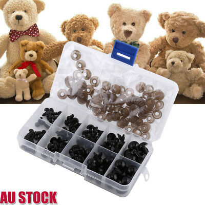 100PC/Set Black Plastic Safety 6-12mm Eyes+Gasket for Toy Teddy Bear Dolls Decor