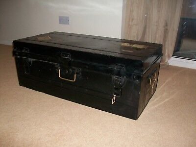 Vintage Metal Travel Trunk B S.W. BULLAS & SONS Coffee Table / Military/ Medical