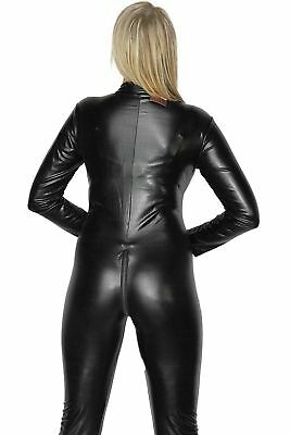 Sexy Stretch 4-Way Black Zip Wet PVC Look Latex Spandex Rubber Valentine Catsuit