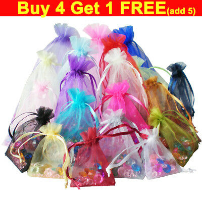 50pcs LUXURY Organza Gift Bags Jewellery Pouches XMAS Wedding Party Candy Favour