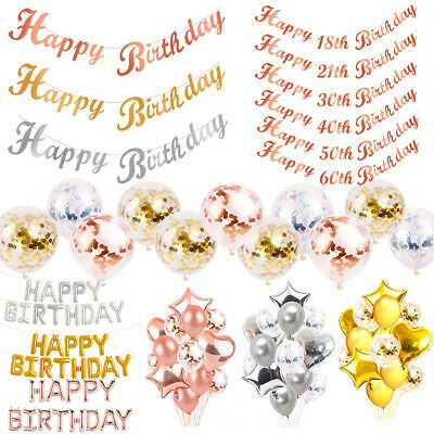 Happy Birthday Balloons Bunting 1st/18/21st/30/40/50/60th Birthday Party Banner