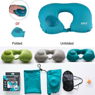 Memory Inflatable U Shaped Travel Pillow Neck Support Head Rest Airplane Cushion