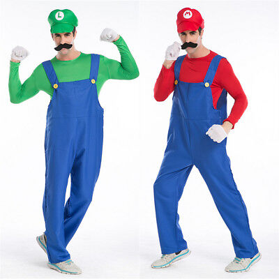 Men Super Mario Luigi Bros Fancy Dress Up Adult Cosplay Costume Plumber Outfit
