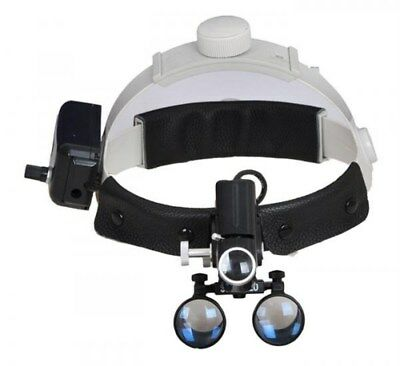 3.5X Dental Medical Headband Binocular Loupes + LED Headlamp Black UK STOCK
