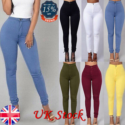UK Ship Womens High Waisted Stretchy Skinny Jeans Ladies Jeggins Pants Size 6-16