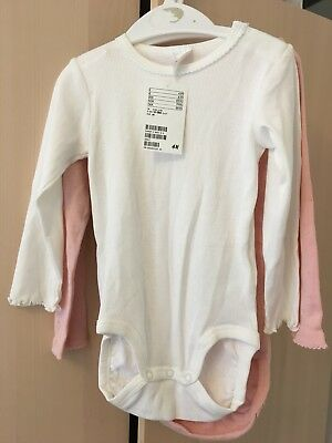 H&M Baby Girl 2 Bodysuit Pink,White Size 1/5-2years ,12-18 Month New With Tags