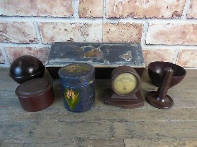 Selection Of Vintage Bakelite Pieces To Include Clock, pots & Boxes.