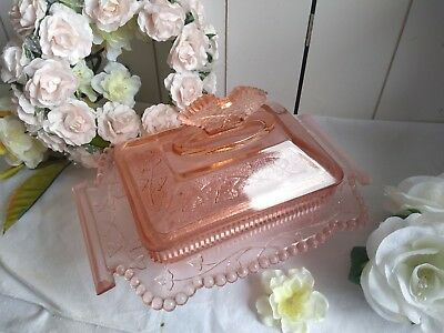Antique pink crystal glass butter dish server tray art deco french