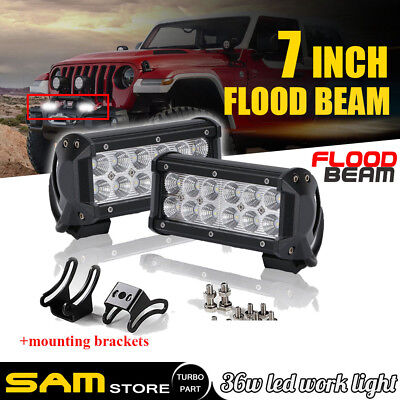 2x 7INCH 36W LED WORK LIGHT BAR SPOT OFFROAD ATV FOG TRUCK LAMP 4WD 12V 6""