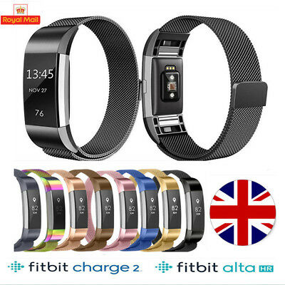 Metal Fitbit Charge 2 / Alta HR Replacement Milanese Band Strap Secure Wristband