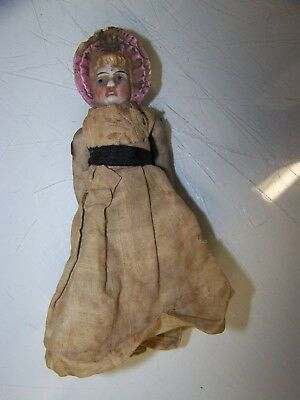 RARE & OLD ANTIQUE VCTORIAN PORCELINE DOLL  - Original Dress, Approx 4.5 inches