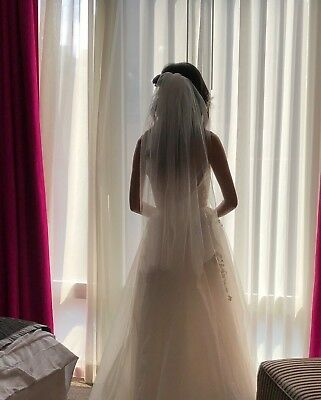 "Light Ivory Tulle Hip Length 36"" Wedding Veil With Comb"
