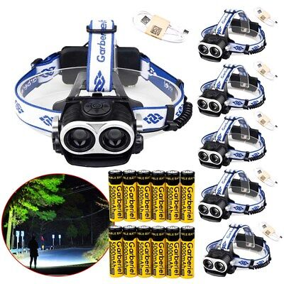 6-Sets 90000Lumens 2 x T6 Zoomable LED Headlamp USB Rechargeable 18650 Headlight