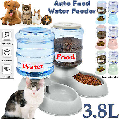 3.8L Large Automatic Pet Dog Cat Food Feeder Dish Dispenser Water Drink Bowl New