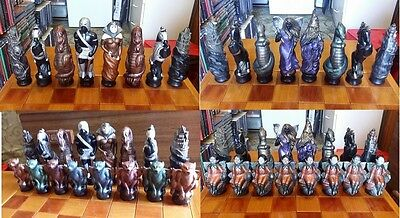 Vintage Chess Set Complete With Solid Coffee Table/Chess Board Table With Drawer