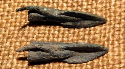 Scythian- Sarmatia Bronze 2 pcs.Old Original Ancient Barbed Arrowhea 7-4 BC #2
