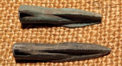 Scythian- Sarmatia Bronze 2 pcs.Old Original Ancient Barbed Arrowhea 7-4 BC #1