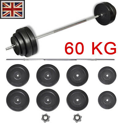 60 kg Straight Bar with Weights dumbell dumbbel weight plates set weight bar UK