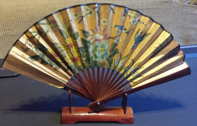 """Vintage 20"""" x 12"""" Hand Painted Gold Japanese Wall Fan Wood Large with Stand"""